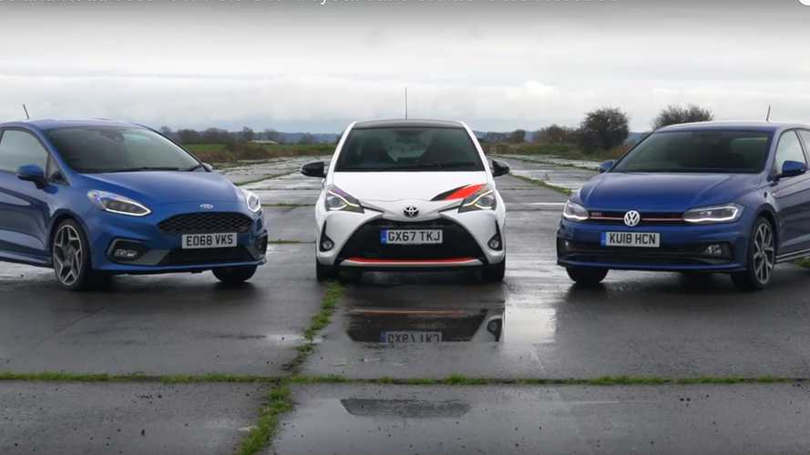 Watch a Yaris GRMN drag race Fiesta ST and Polo GTI