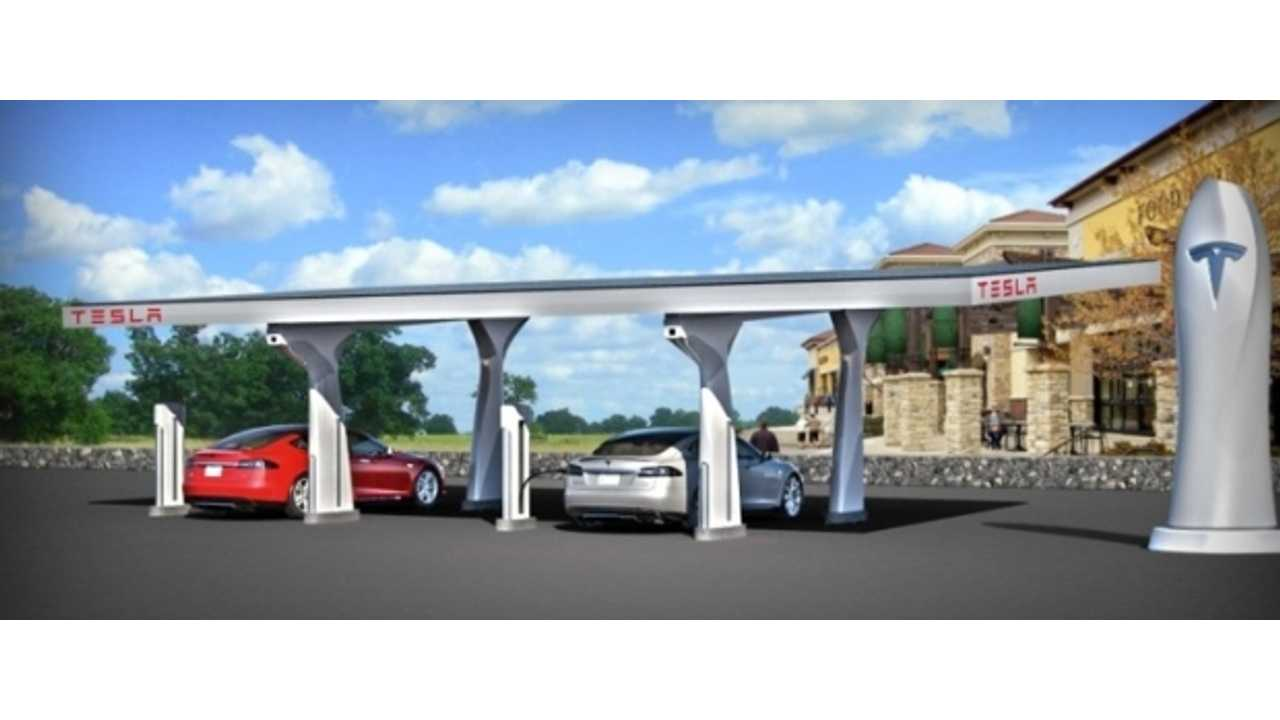 Tesla Integrates A Combination Of Solar Production And Grid Power To Charge The Tesla Model S At Their Supercharger Stations