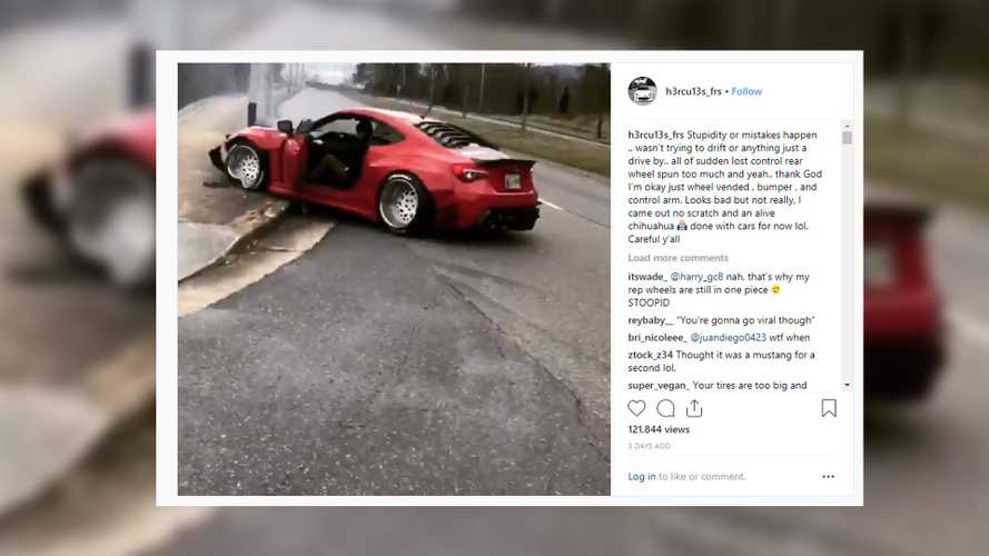 Stanced Scion FR-S Spins On Camera, Promptly Hits Pole