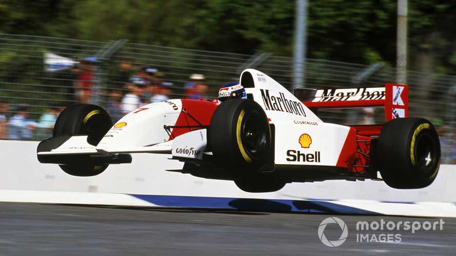 Mika Hakkinen launches his Mclaren MP4-8 into the air at Malthouse Corner