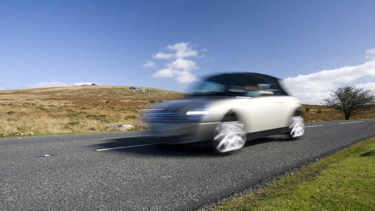 Speeding Mini Cooper in Dartmoor UK