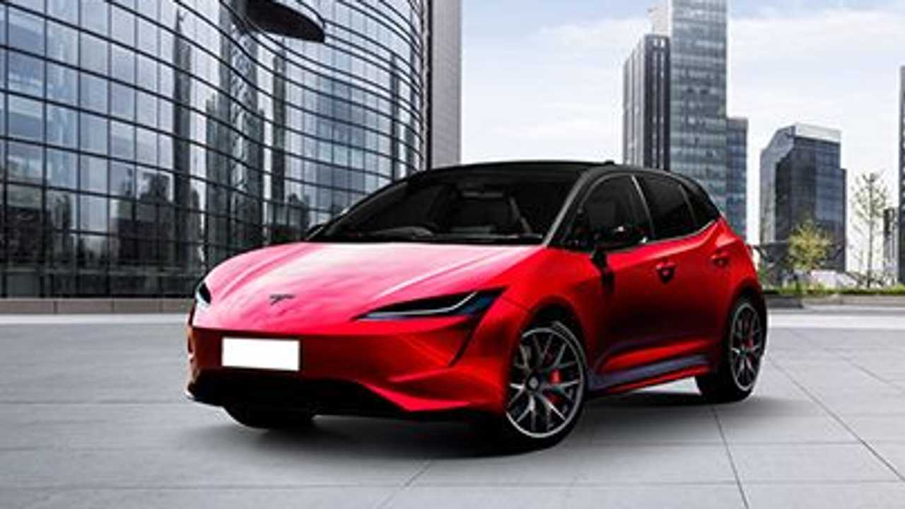 Rendering of Tesla £18,000 car (Model 2)