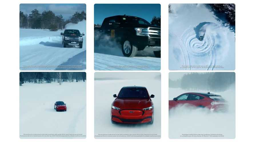 Watch Ford F-150 Electric Truck And Mustang Mach-E Make Snow Angels