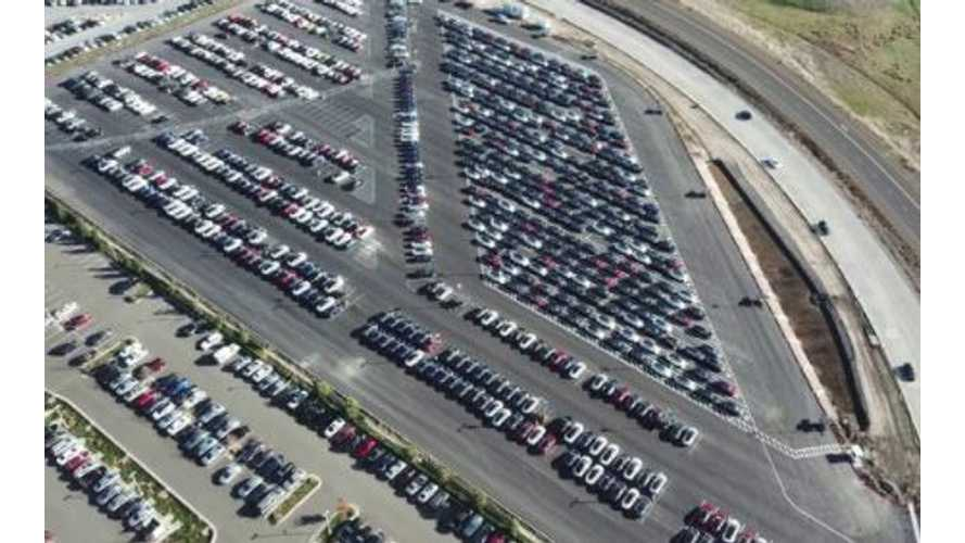 Fremont Factory Flyover Reveals Hundreds Of Tesla Model 3 - Video