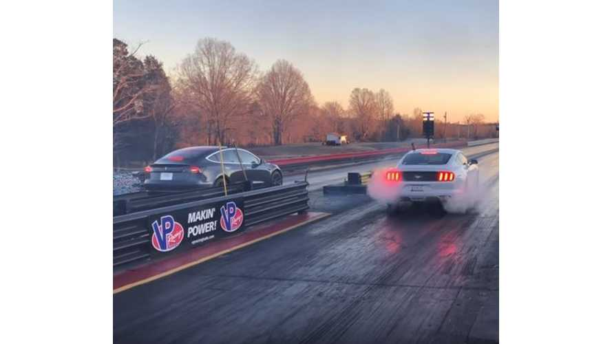 Tesla Model 3 Smokes Ford Mustang - Drag Race Video