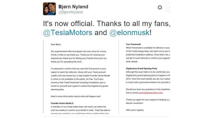 Tesla Confirms Bjørn Nyland Is Winner Of Free Loaded Founder's Edition Model X, Powerwall & Gigafactory Tour