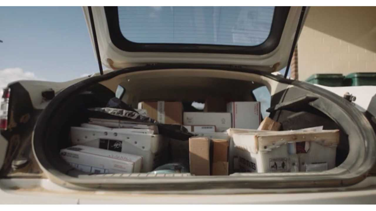 Henry's Tesla packed with mail