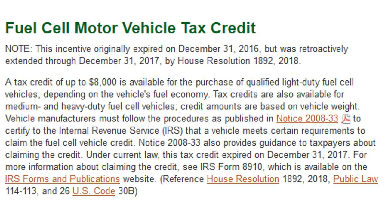Tax Time U S Extends Evse Motorcycle Fcvs Credits Through End Of 2017