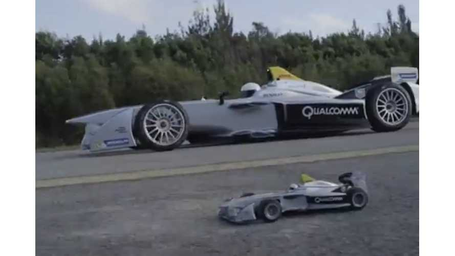 Formula E Driver Lucas Di Grassi Vs Wirelessly Charging RC Car - Video