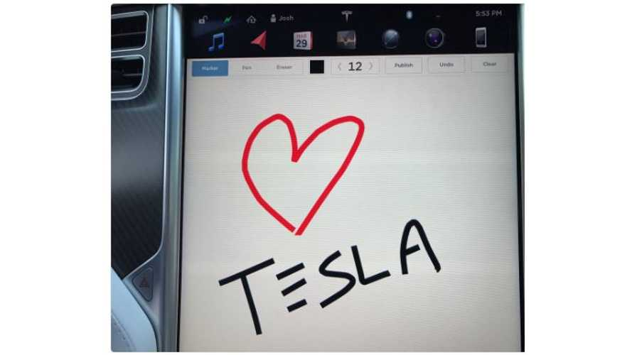Tesla's Latest Easter Egg Brings Sketch Pad To Central Screen