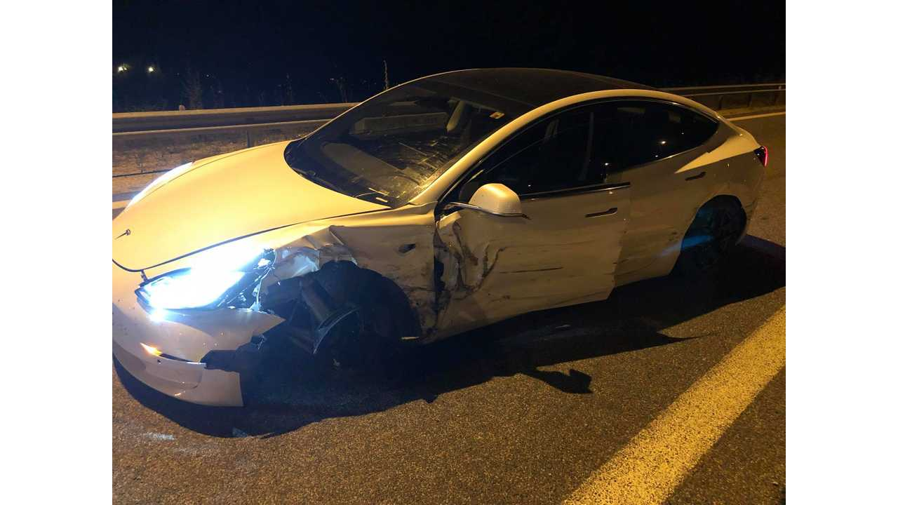 Tesla Model 3 Road Trip Car Hits Barrier While Reportedly On Autopilot