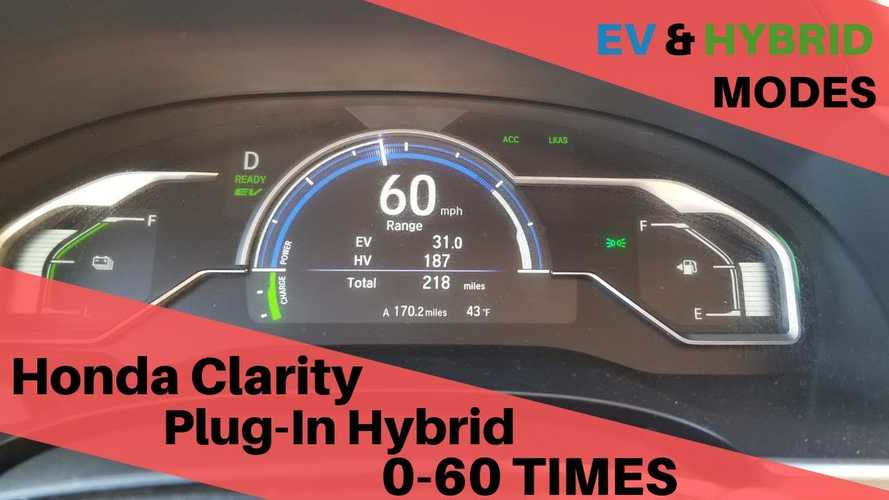 Honda Clarity PHEV 0-60 MPH Acceleration With & Without Engine: Video