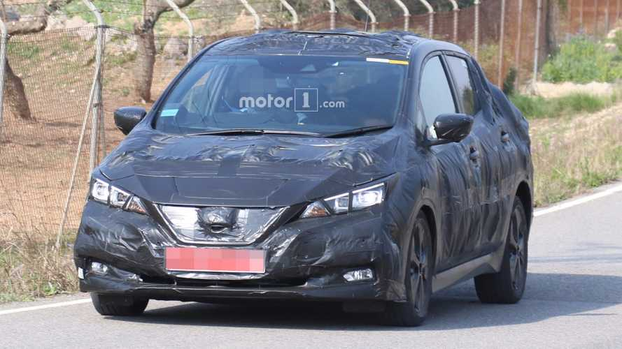 2018 Nissan LEAF Peeks Out Under Trash Bag Camo