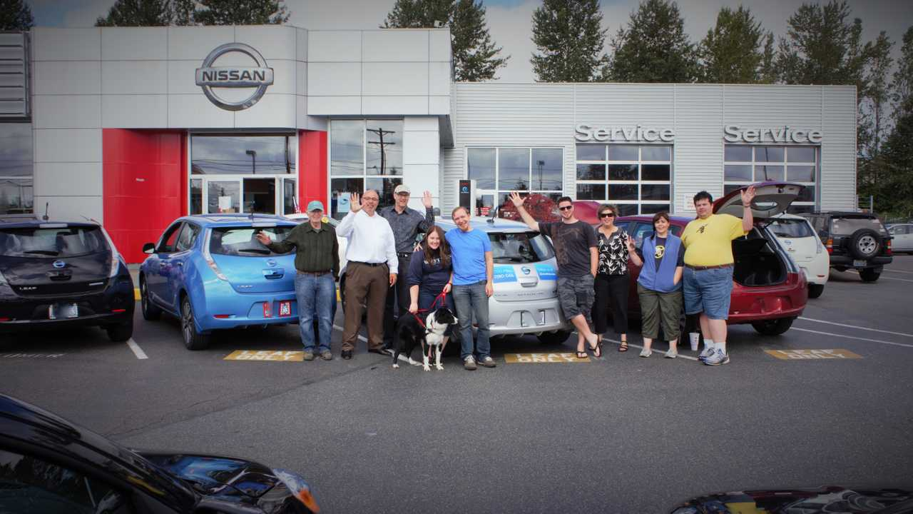 Celebration while charging at Magic Nissan, north of Seattle
