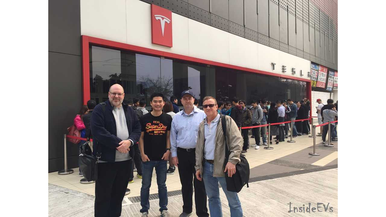 ChargedHK members and Model S owners made reservation for the Model 3 <em>(Chairman Mark Webb-Johnson on left)</em>