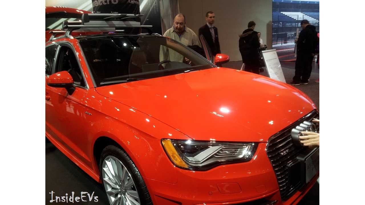 An Audi A3 e-Tron In Whatever This Color Is At CES From January...whatever it is, it worked as a new record amount was sold in March