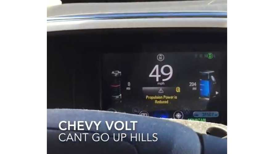 Misuse Of Mountain Mode Causes Chevy Volt To Struggle Up Mountain Road - Video