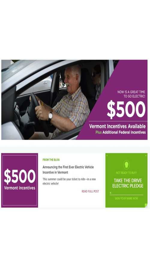 Vermont Plug-In Vehicle Buyers Get $500 Instant Discount