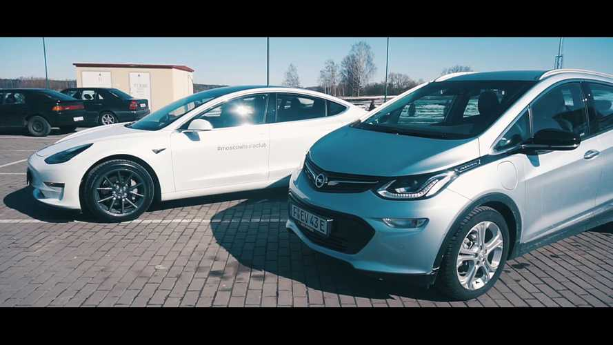 Watch Tesla Model 3 Blow Away Opel Ampera-E