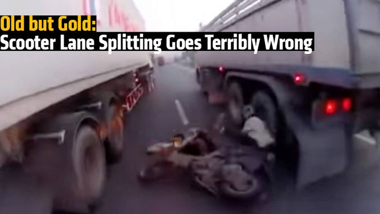 Old but Gold: Scooter Lane Splitting Goes Terribly Wrong