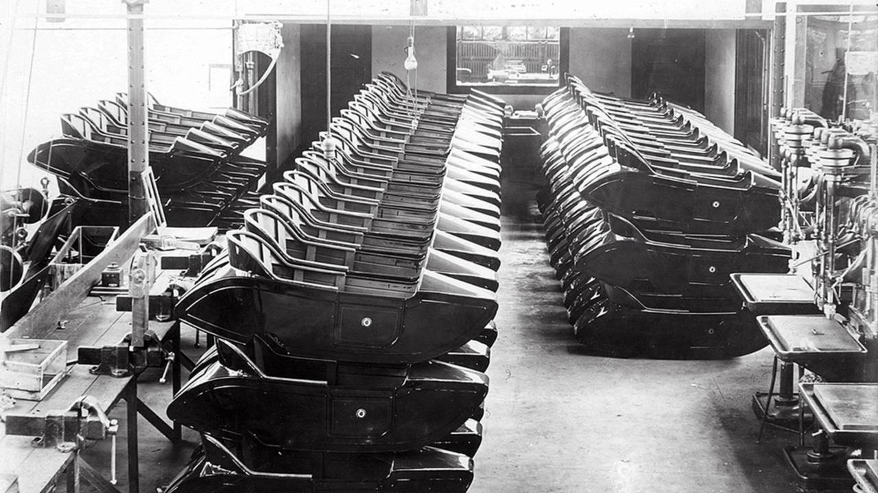 <strong>Sidecar bodies stacked up at the Loudonville factory. Photo courtesy of the CRF Museum / Mohican Historical Society, Loudonville Ohio.</strong>