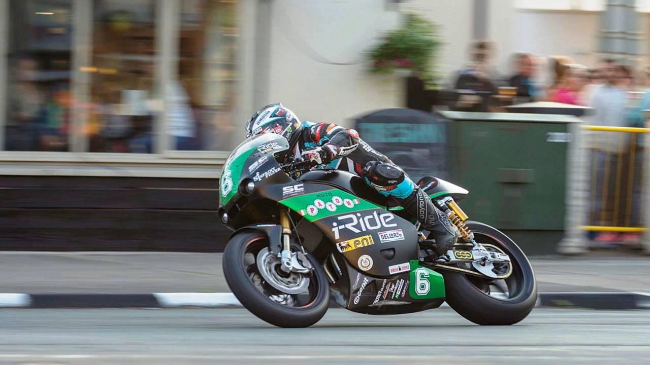 Michael Dunlop's Paton Lightweight Supertwin race bike setting an unofficial lap record