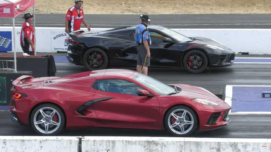 شفروليه كورفيت سي8 تتحدى عدة سيارات في مسافة الربع ميل