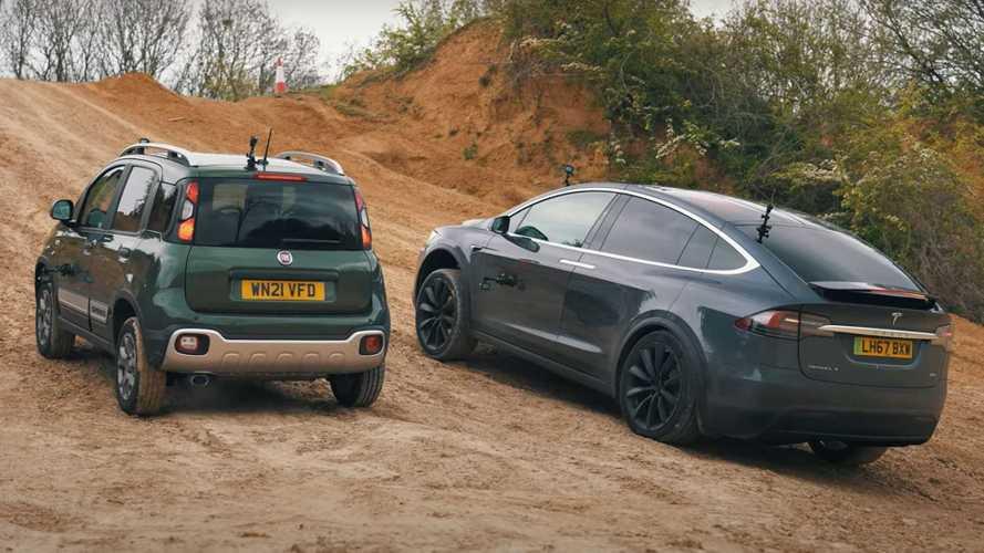 Off-Road Battle: Tesla Model X Versus Fiat Panda Cross