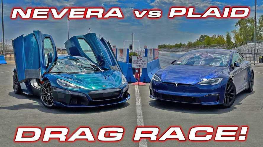 Watch Rimac Nevera Destroy Tesla Model S Plaid In Drag Races