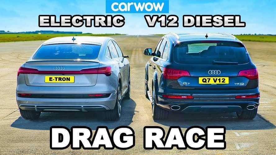 Mammoth Diesel Vs. Electric: Audi Q7 V12 TDI Races e-tron Sportback