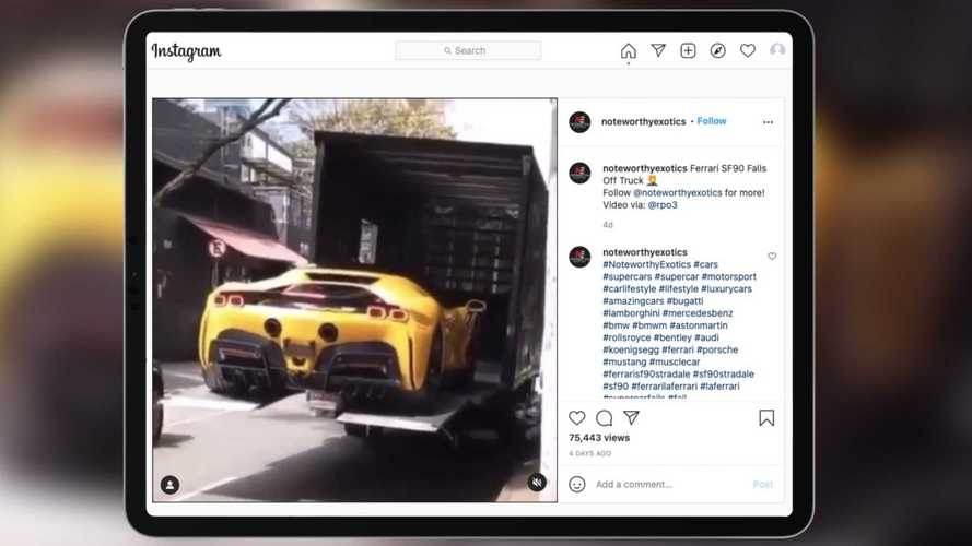 Bir Ferrari SF90 Stradale'in teslimat kazasını görün
