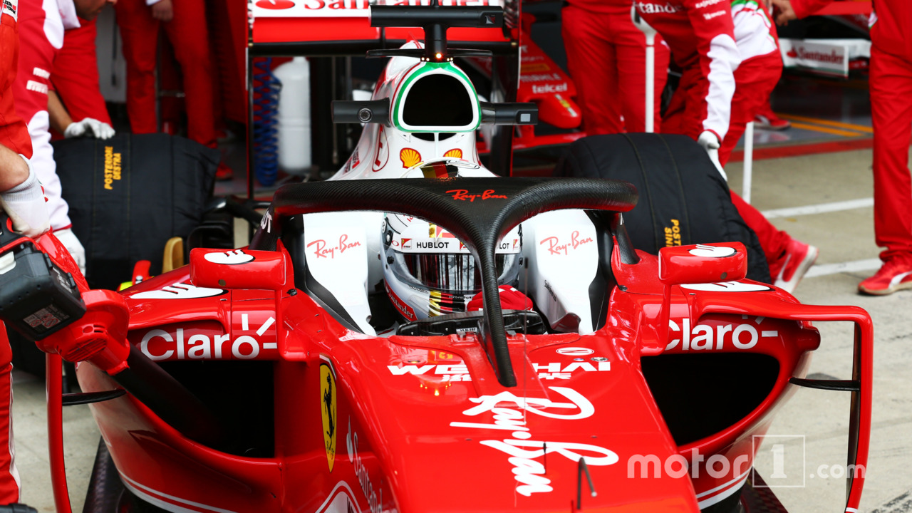 Sebastian Vettel, Ferrari SF16-H running the Halo cockpit cove
