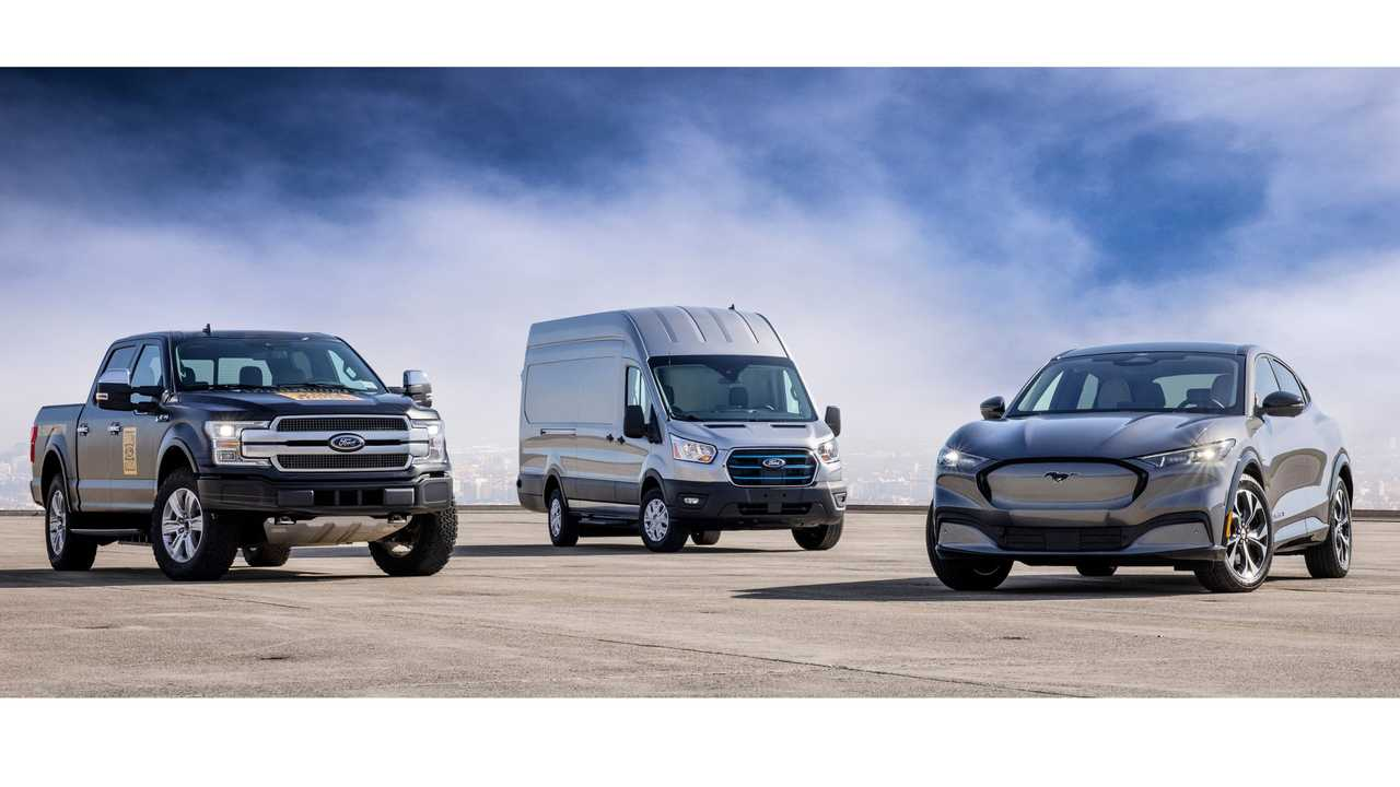 from left Ford F-150 Electric prototype, Ford E-Transit and Ford Mustang Mach-E