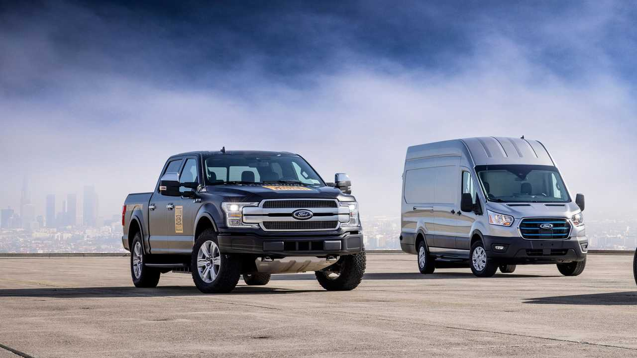 Ford F-150 Electric prototype (left) and Ford E-Transit (right)