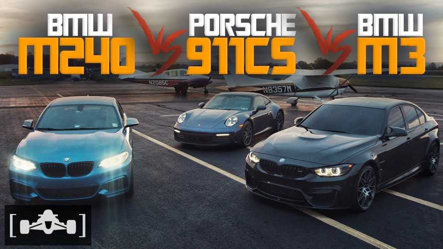 Watch Tuned BMW M240i Drag Race Porsche 911 Carrera S And BMW M3