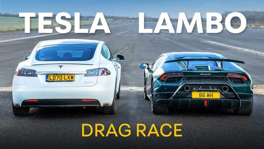 UPDATE 2: Watch Lamborghini Huracan Performante Race Tesla Model S Cheetah