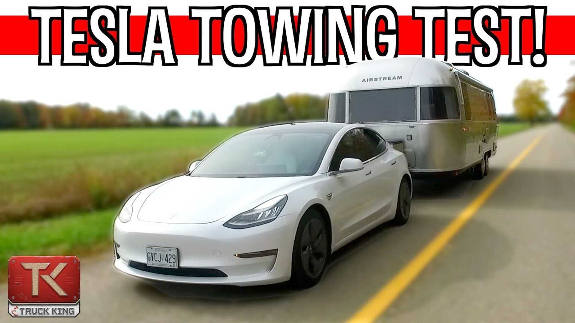 Tesla Model 3 Towing Huge 26-Foot Airstream: Range & Power Test