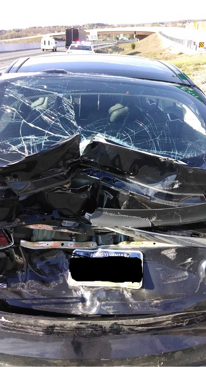 Tesla Model S Rear Ended By Big Rig - Owner Able To Drive Model S Home
