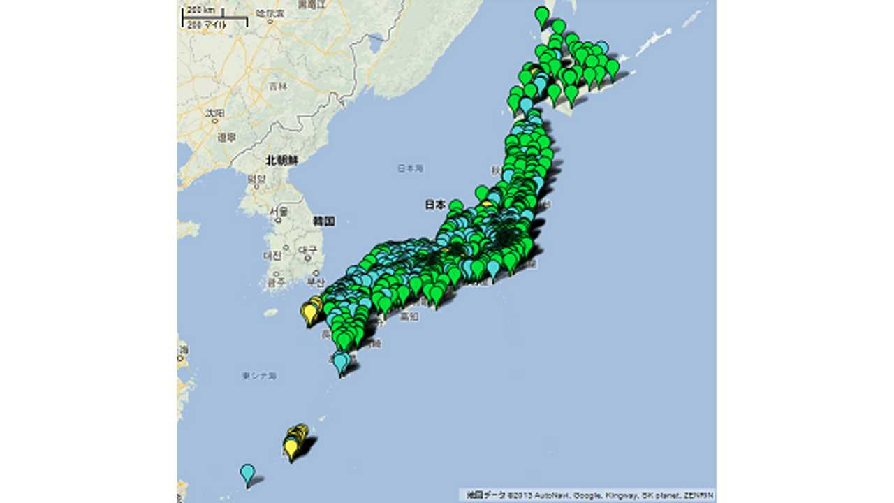 Japan needs to improve the quick charging infrastructure because....um...we'd rather not see any of the island appear when we view the quick-charge map