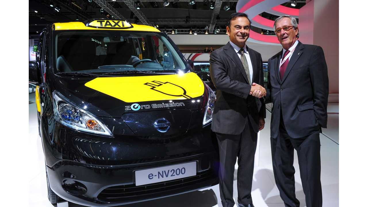 Nissan President and CEO Carlos Ghosn and Barcelona Mayor, Xavier Trias next to Nissan e-NV200