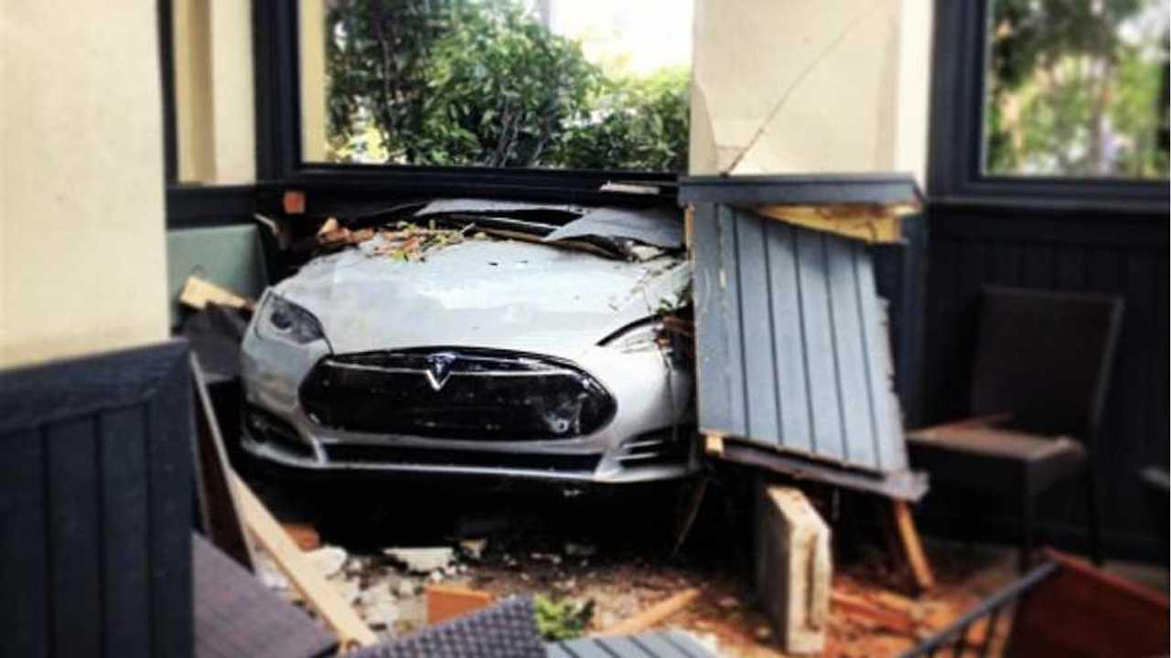 Tesla Model S Crashes Through Restaurant; Driver Blames It On Unintended Acceleration