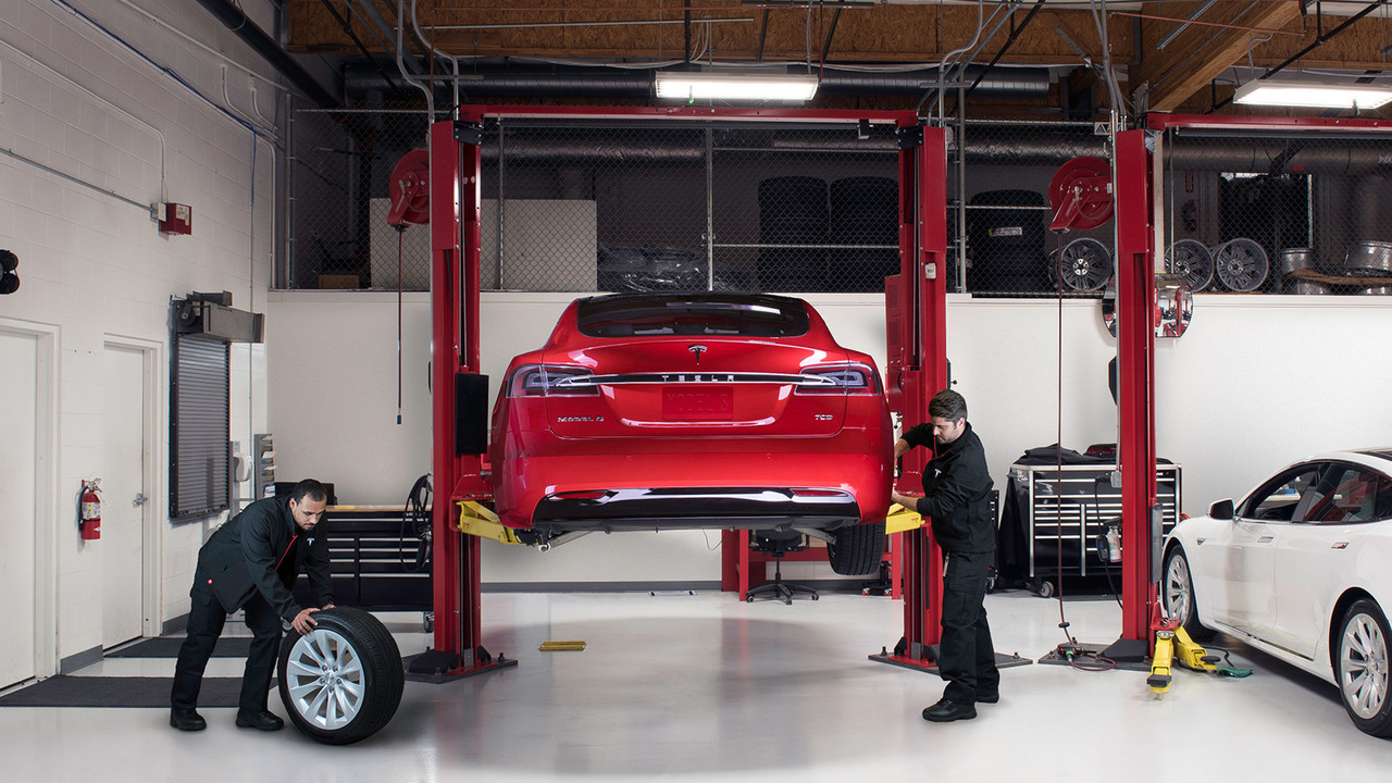 Tesla Model S getting serviced