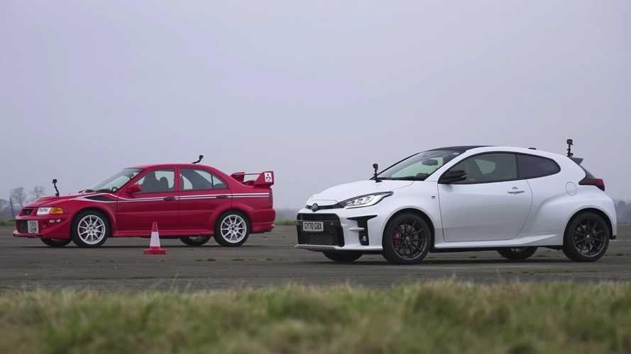 UK Toyota GR Yaris drag races Mitsubishi Evo VI Tommi Makinen Edition