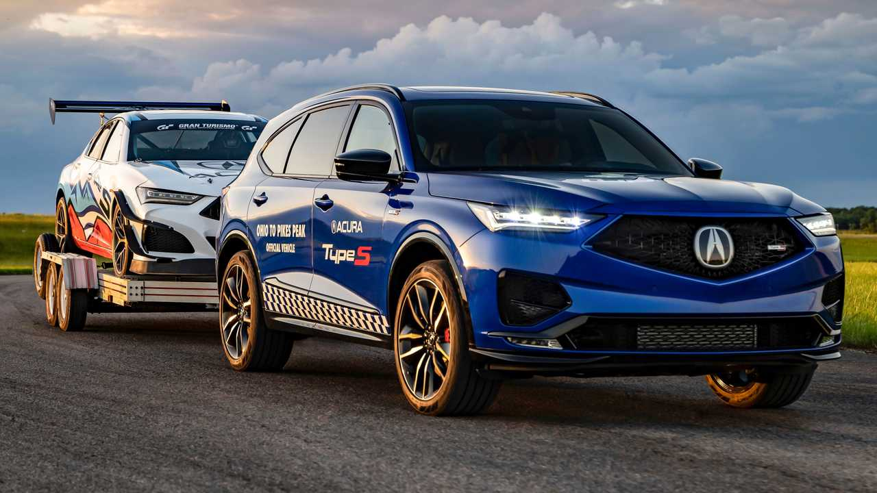 2022 Acura MDX Type S Towing Race Car