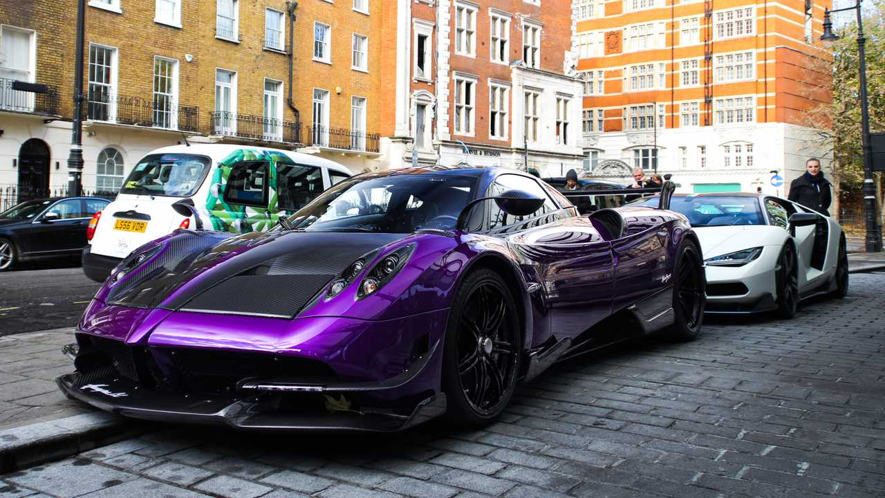 Pagani Huayra BC and Lamborghini Centenario parked at luxury hotel in London