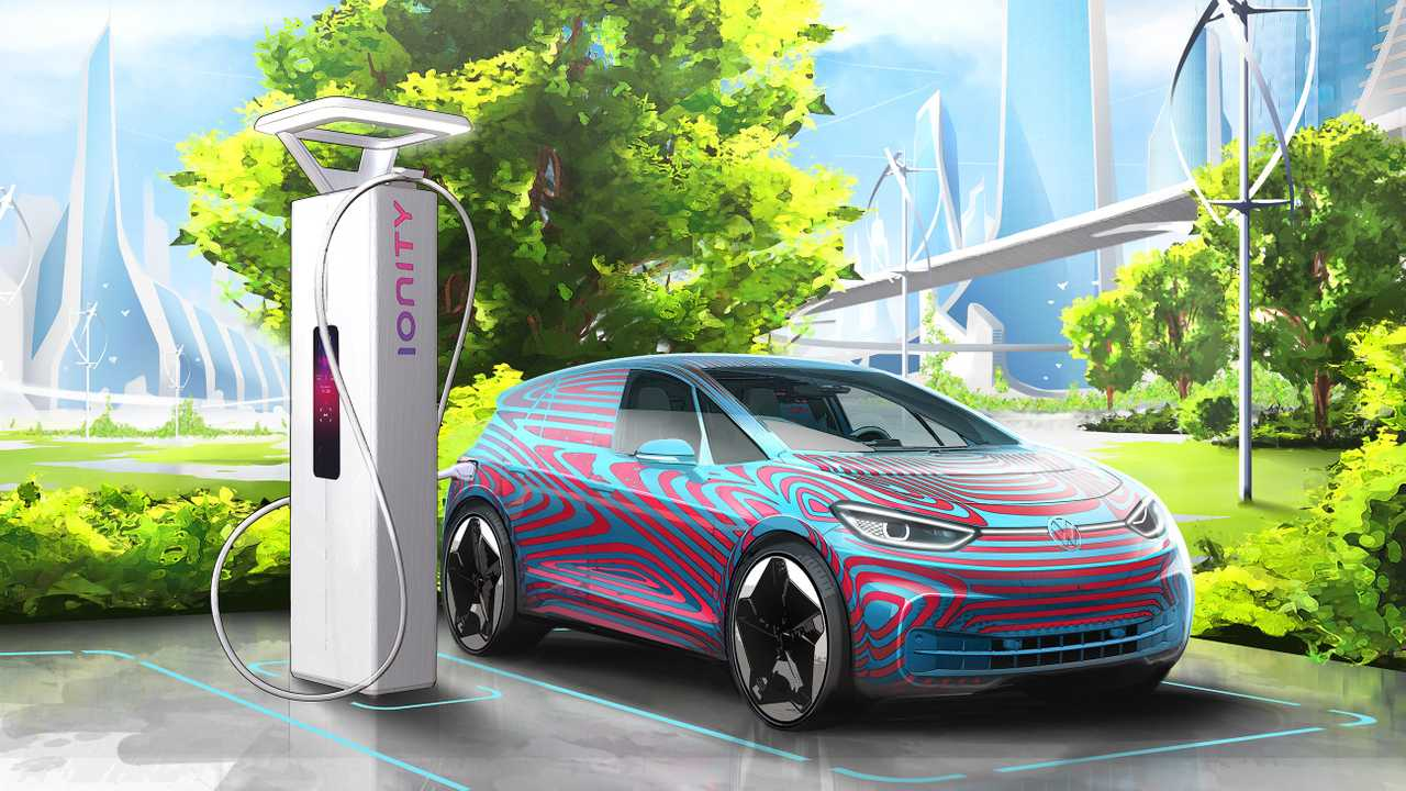 Volkswagen ID.3 and High Power Charging Station of IONITY.