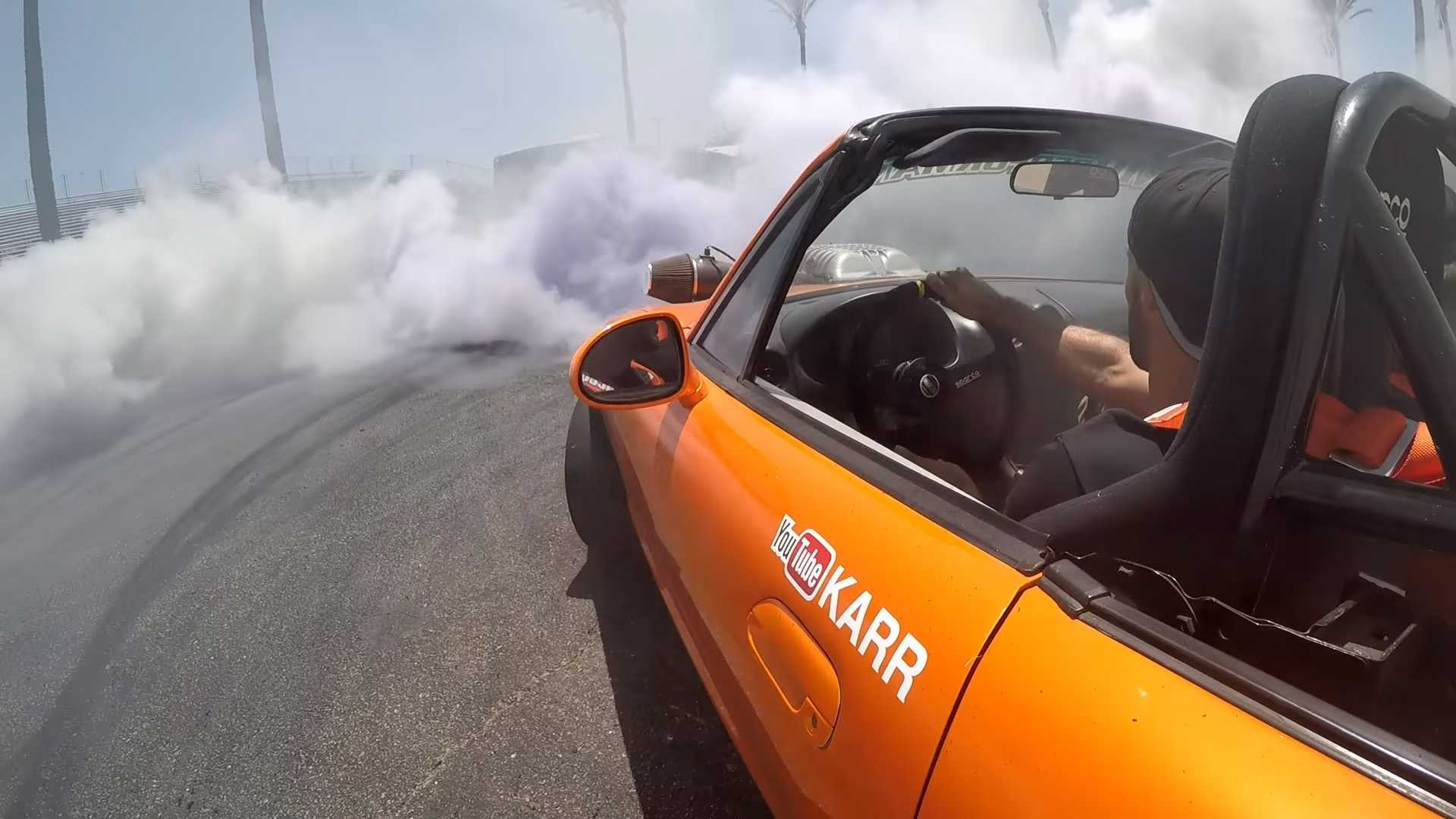 Hellcat-Swapped Mazda Miata Is Back To Rip Burnouts In 6th Gear