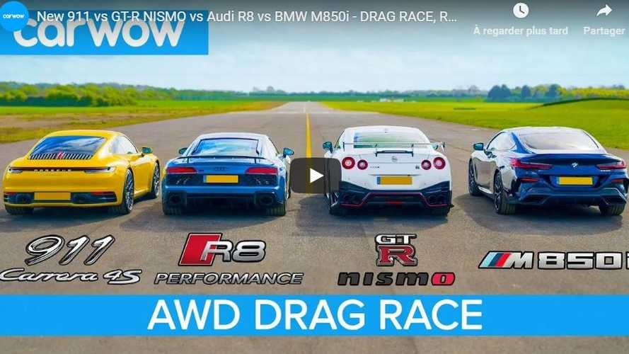 VIDÉO - Audi R8 vs 911 Carrera 4S vs GT-R Nismo vs BMW M850i