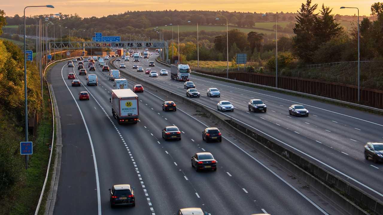 Evening traffic on M25 motorway London