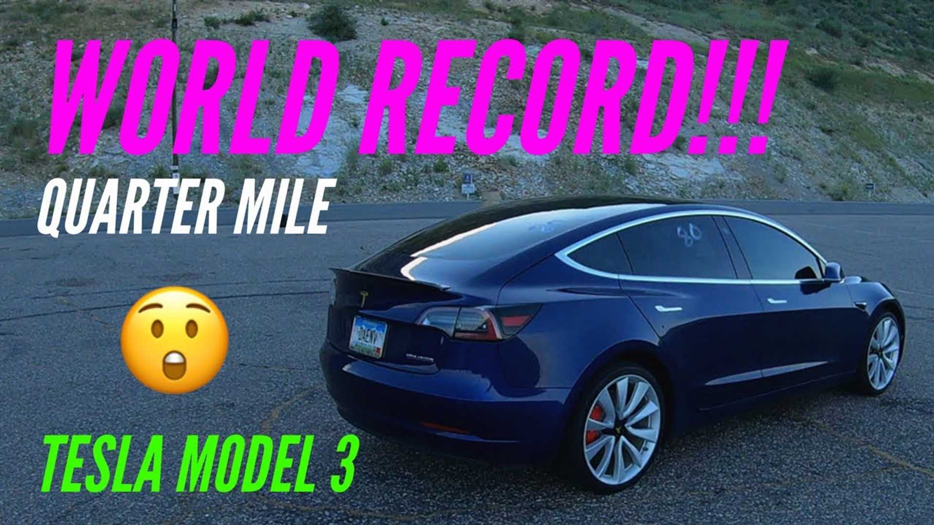 Watch Tesla Model 3 Set New 1 4 Mile World Record Video